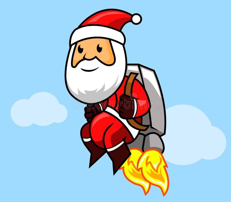 Santa Jetpack royalty-vrije illustratie