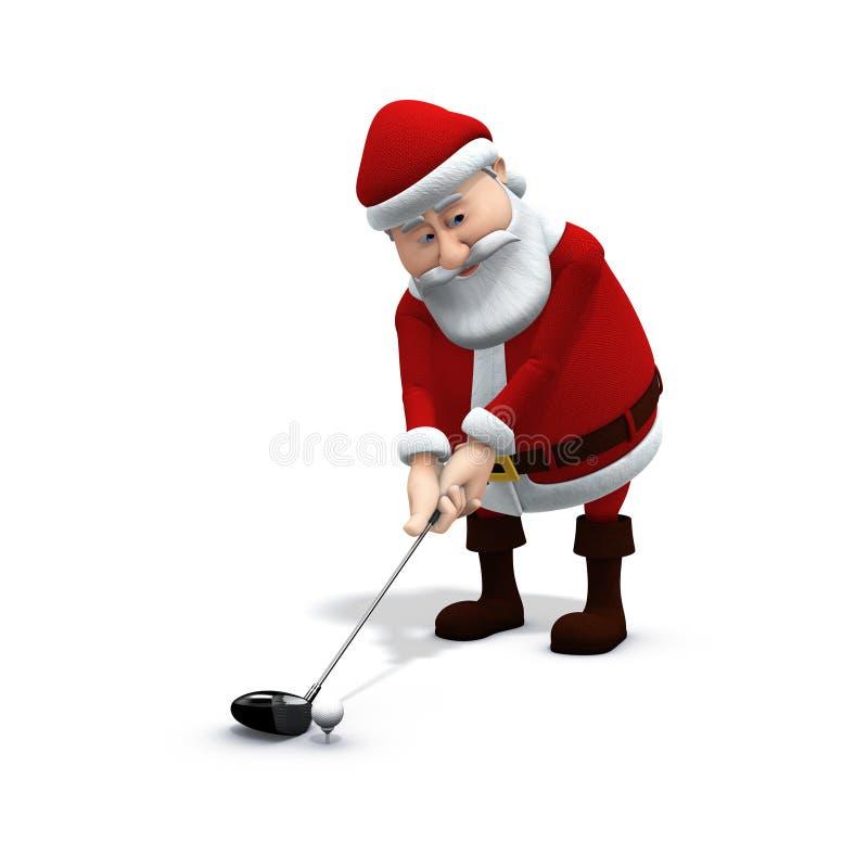 Santa joga o golfe 1 ilustração royalty free