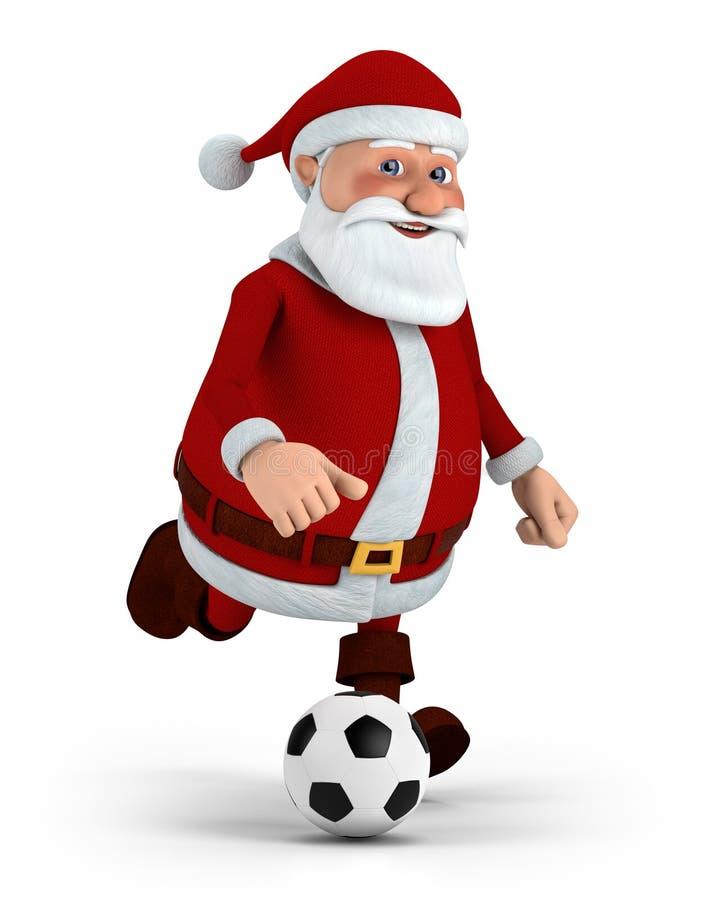Santa jouant au football illustration stock