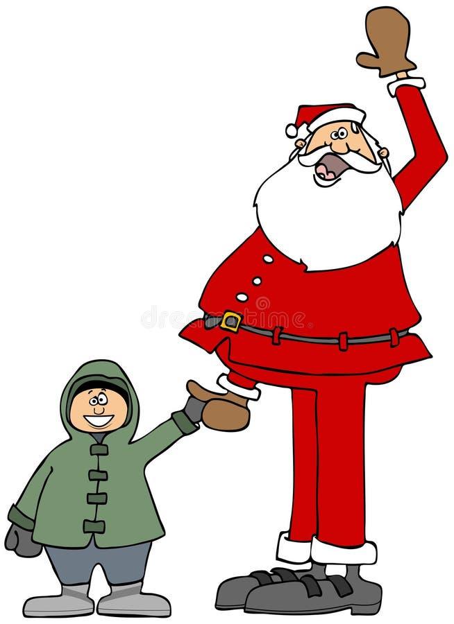 Santa jugeant de petits garçons remettent illustration de vecteur