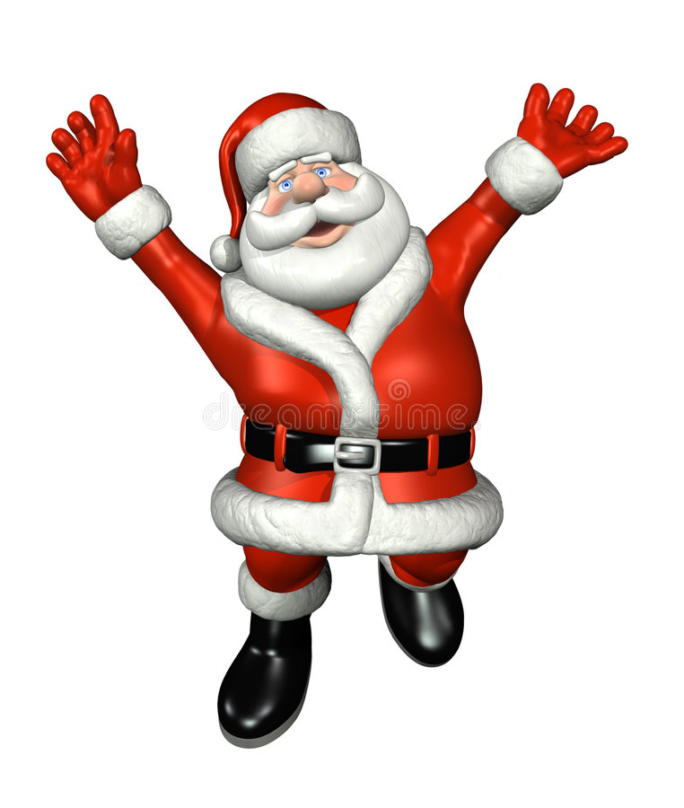 Santa Jumping for Joy stock illustration