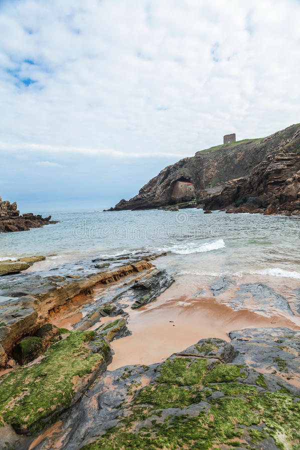 Santa Justa Beach in Tagle, Cantabria, Spain royalty free stock photo
