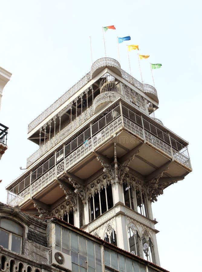 Santa Justa or Carmo Lift in Portuguese Lisbon royalty free stock photo