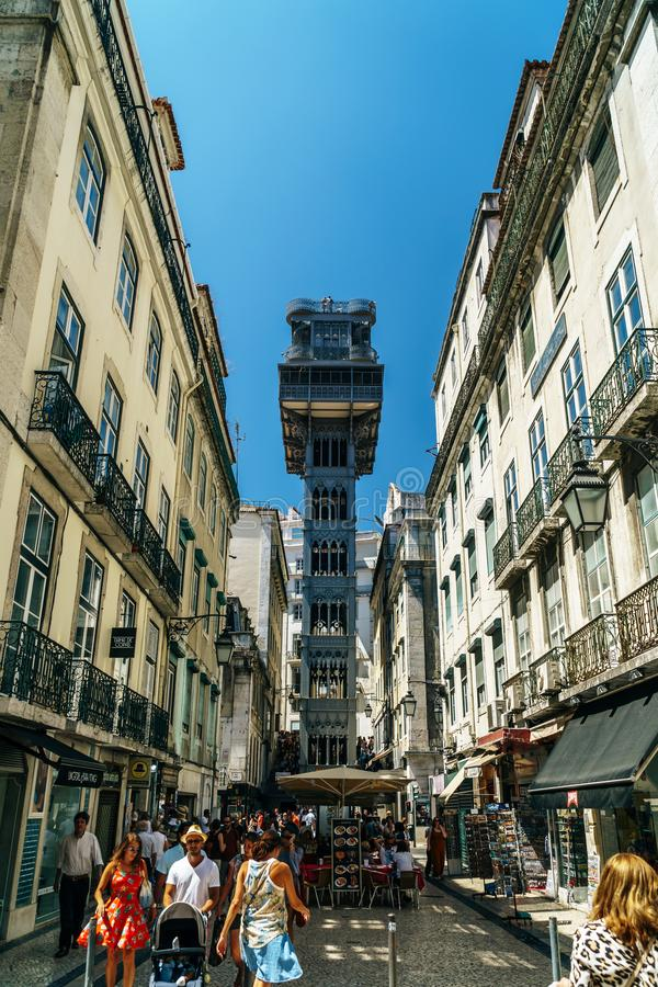 Santa Justa Elevador Lift in Lisbon. LISBON, PORTUGAL - AUGUST 11, 2017: Built in 1902 Santa Justa Elevador Lift, also called Carmo Lift is an elevator in the stock image
