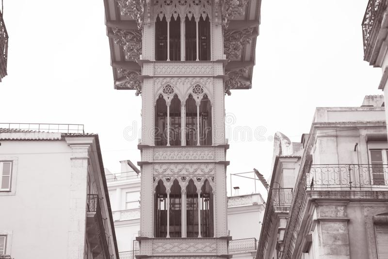 Santa Justa Elevador, Lisbon. Portugal in Black and White Sepia Tone stock photography