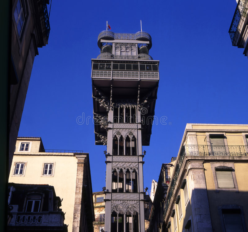 Santa Justa Elevator. In Lisbon, Portugal. Connecting downtown to Bairro Alto (the lowest and highest points of the city). Made by the French architect Raoul de stock image