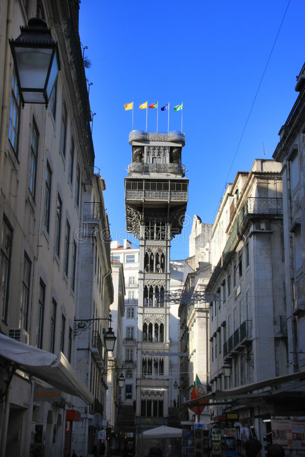Santa Justa Elevator. In Lisbon, Portugal. Connecting downtown to Bairro Alto stock photo