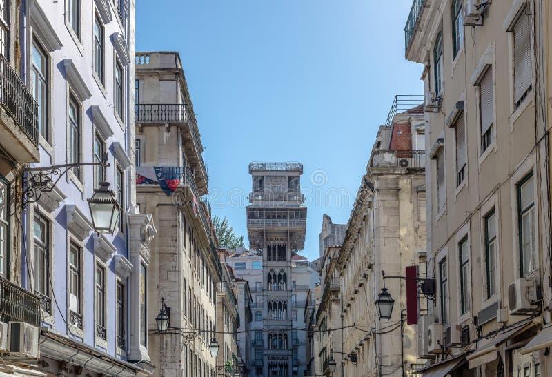 Santa Justa elevator in Lisbon. Lisbon Buildings in the background the famous Santa Justa Elevator stock image