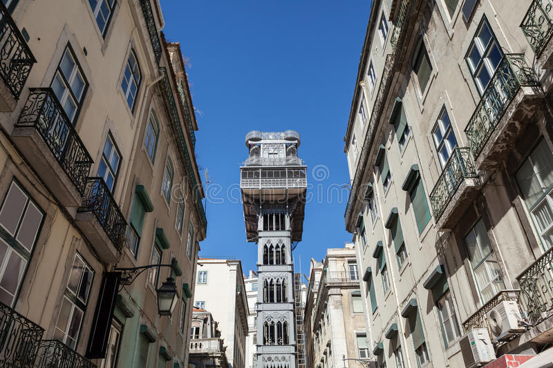 Santa Justa elevator in Lisbon, Portugal. The elevator was built to connect Baixa Pombalina and Chiado royalty free stock photo