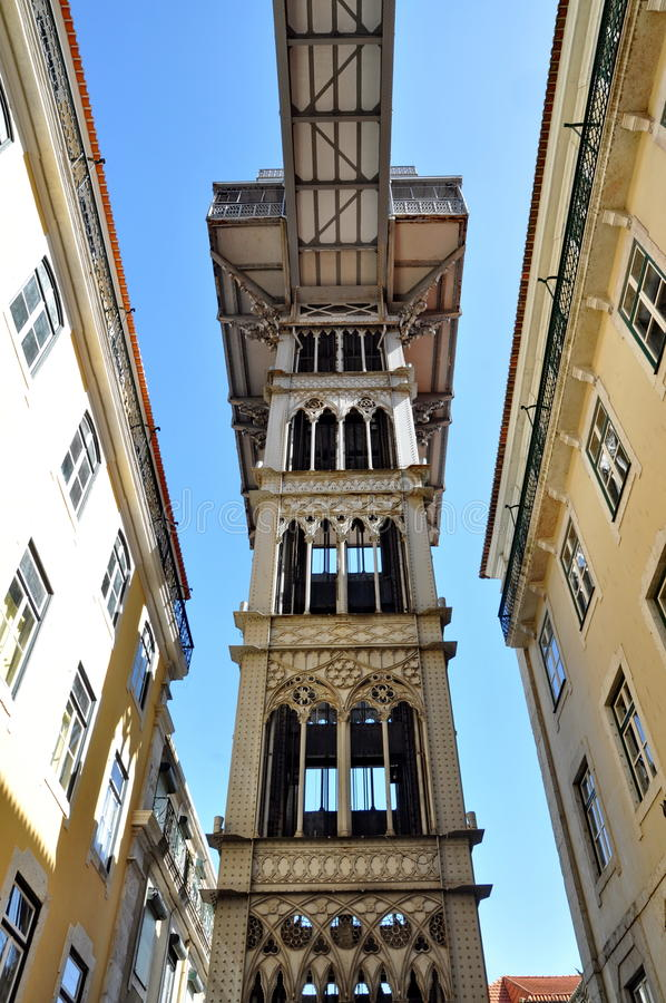 Santa Justa hiss, Lisbon arkivfoton
