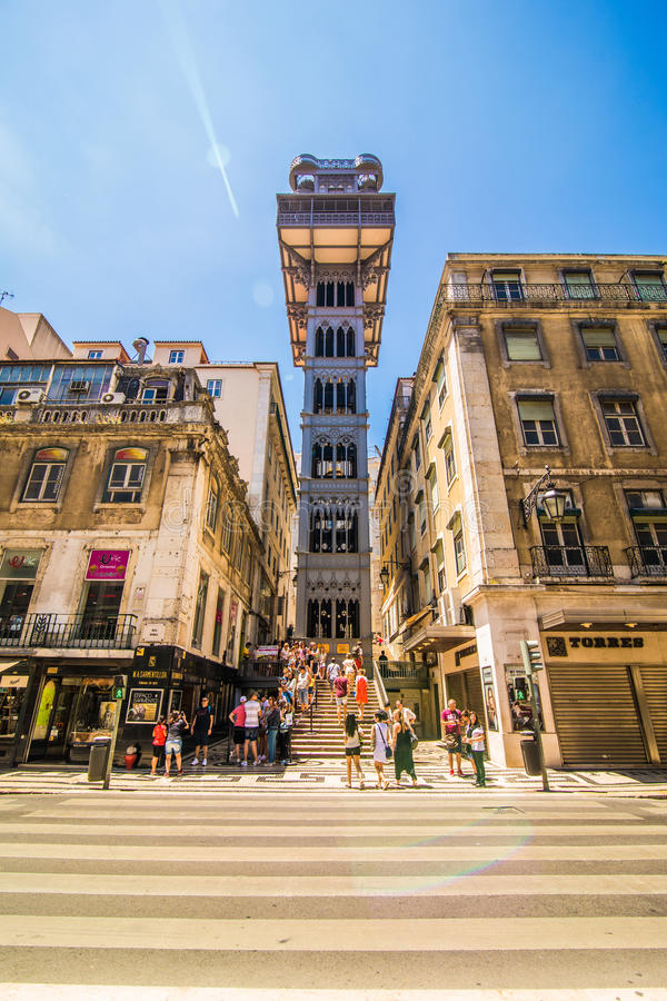 10 July 2017 - Lisbon, Portugal. The Santa Justa Lift also called Carmo Lift is an elevator in Lisbon. The Santa Justa Lift also called Carmo Lift is an elevator royalty free stock photography