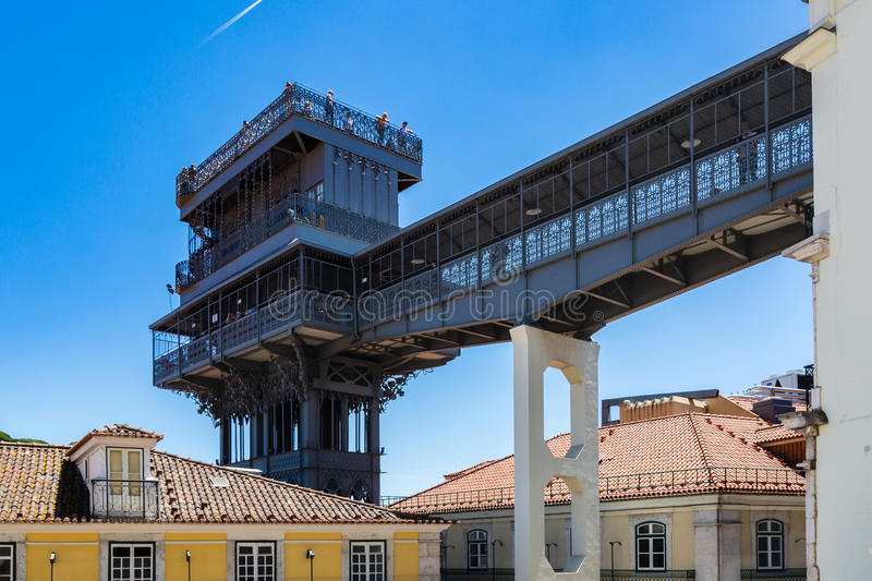 Santa Justa lift built by Raoul Mesnard in 1902 in Lisbon, Portugal. From the top terrace there is a fabulous view of Alfama, the old part of Lisbon stock images