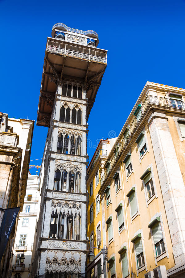 Santa Justa Lift (Elevador de Santa Justa) i Lissabon royaltyfri fotografi