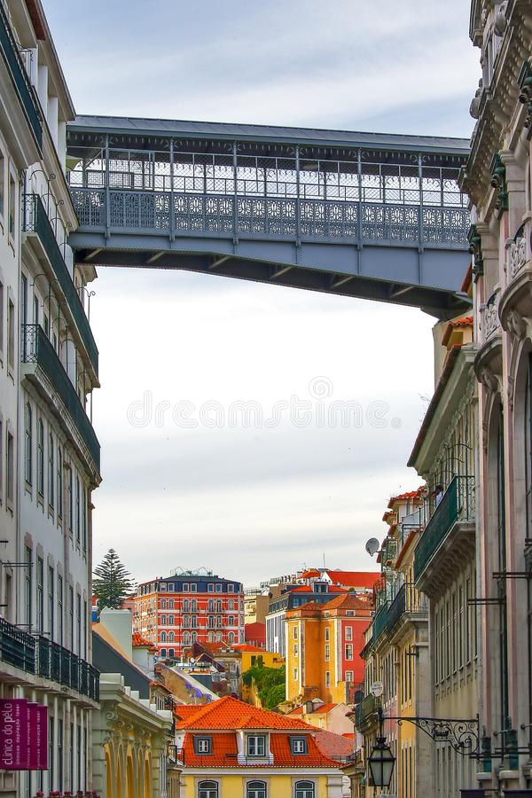 Santa Justa Lift in Lisbon. Famous landmark and entertaining touristic attraction with viewing platform upstairs royalty free stock photography