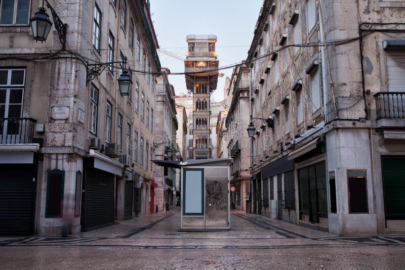 Santa Justa Lift in Lissabon stock afbeeldingen