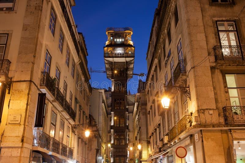 Santa Justa Lift at Night. Santa Justa Lift (Portuguese: Elevador de Santa Justa) by night in Lisbon, Portugal. Famous city landmark, Neo-Gothic style royalty free stock image
