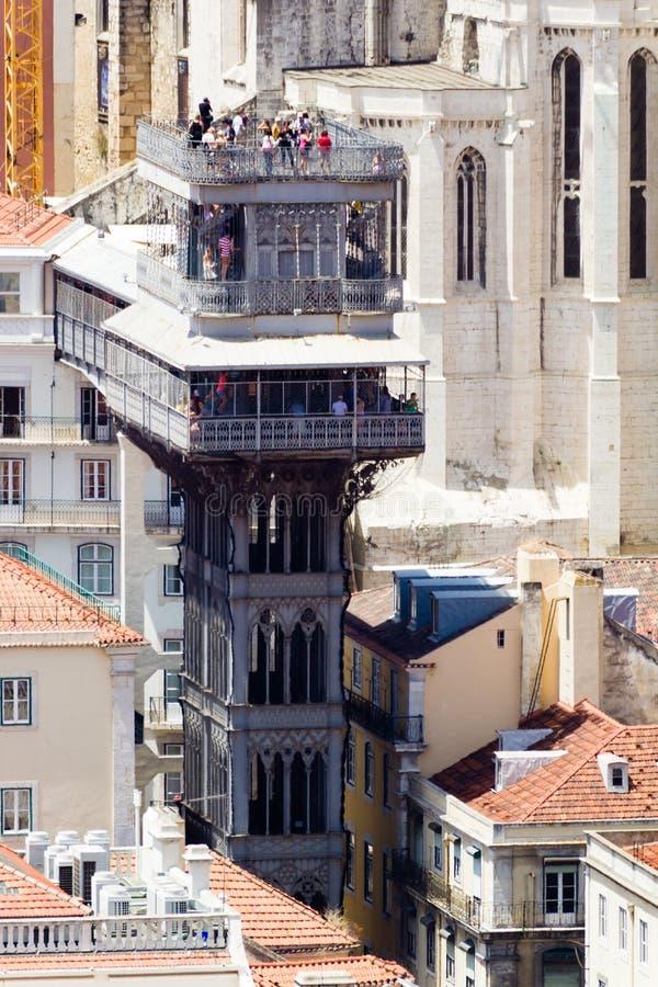 Santa Justa Lift (português: Elevador de Santa Justa) é imagem de stock