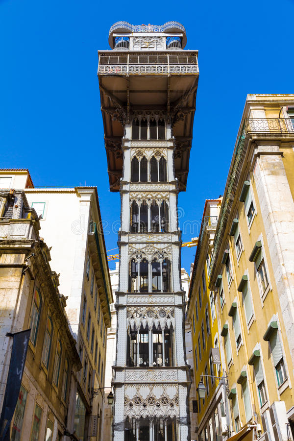The Santa Justa Lift (Portuguese: Elevador de Santa Justa), also. Called Carmo Lift is an elevator/lift in the historical city of Lisbon, situated at the end of stock photos