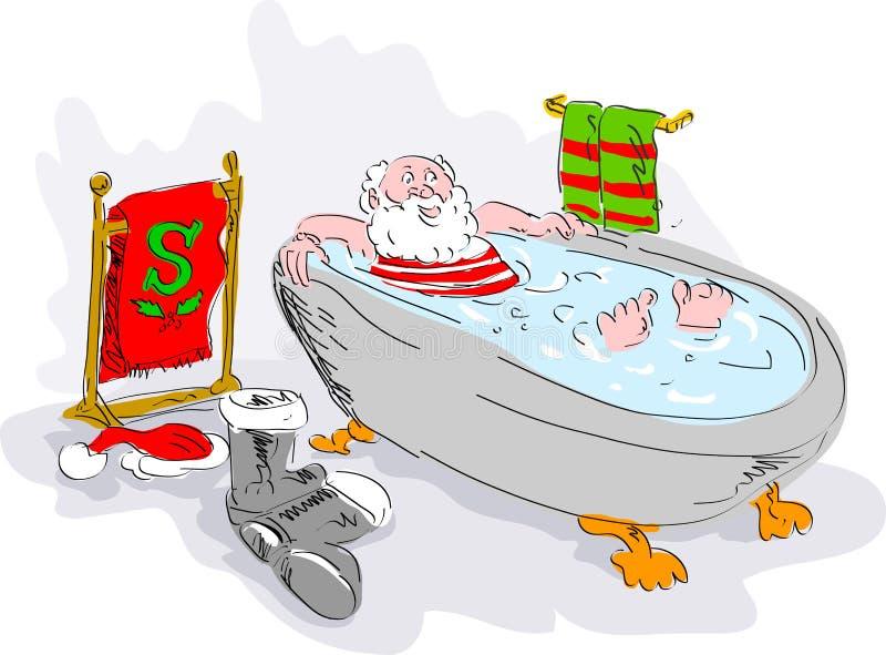 santa kąpielowa relaksująca balia royalty ilustracja