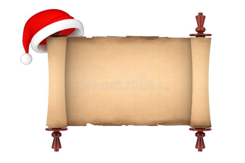 Santa kapelusz nad Pustym Starym Papierowym ślimacznica pergaminu Mockup 3D rende ilustracja wektor