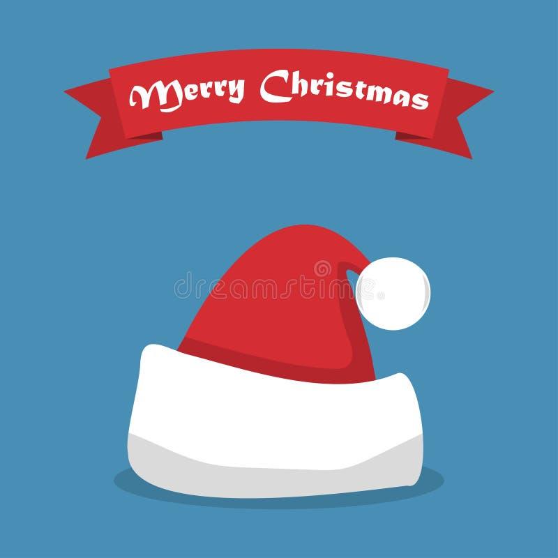 Santa kapelusz z cieniem i faborek w płaskim projekcie ilustracja wektor