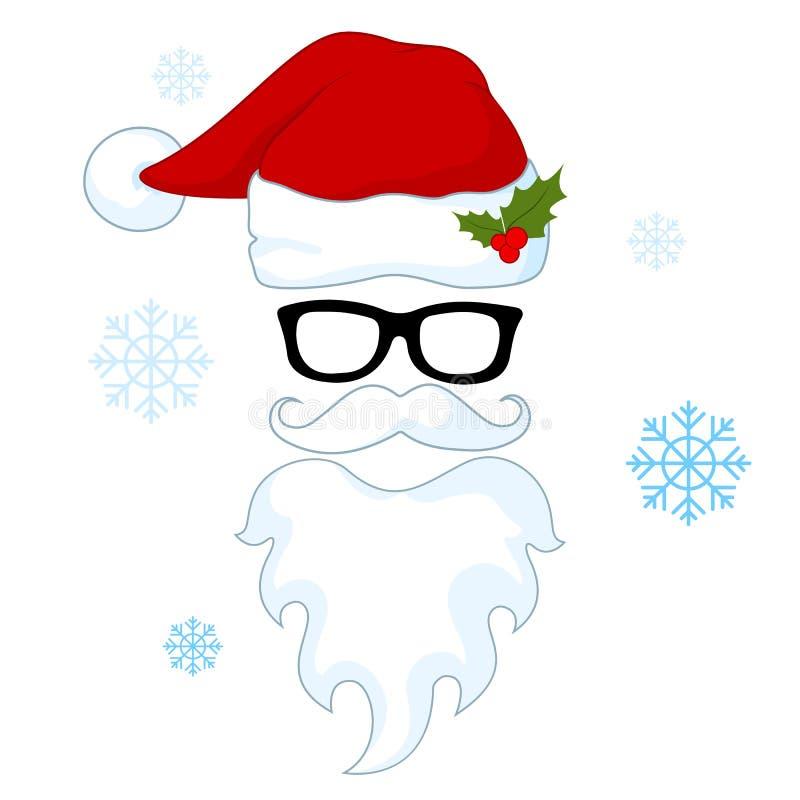 Santa kapelusze, wąsy i brody, ilustracja wektor