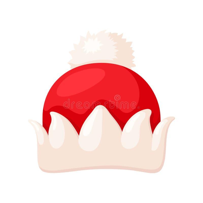 Santa kapeluszowa ikona, boże narodzenia odziewa tradycyjnego akcesorium royalty ilustracja