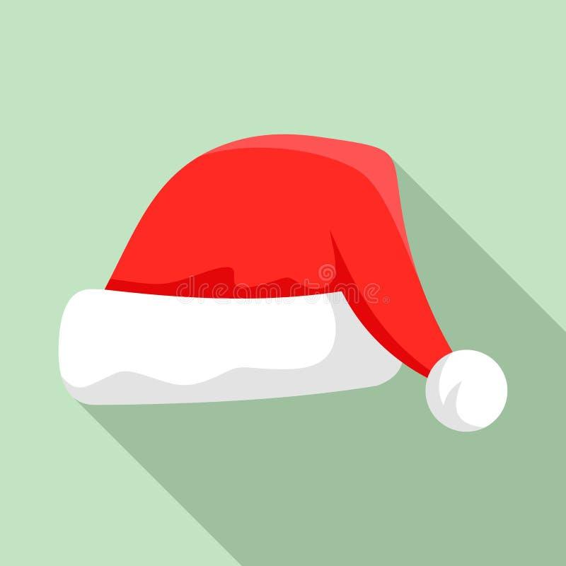 Santa kapeluszowa ikona, mieszkanie styl ilustracji