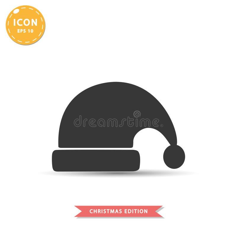 Santa kapeluszowej ikony mieszkania stylu wektoru prosta ilustracja ilustracji