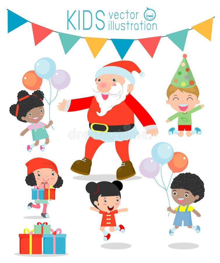 Santa With Kids barn som hoppar med glädje när mötta Santa Claus, glad jul, jultomten vektor illustrationer