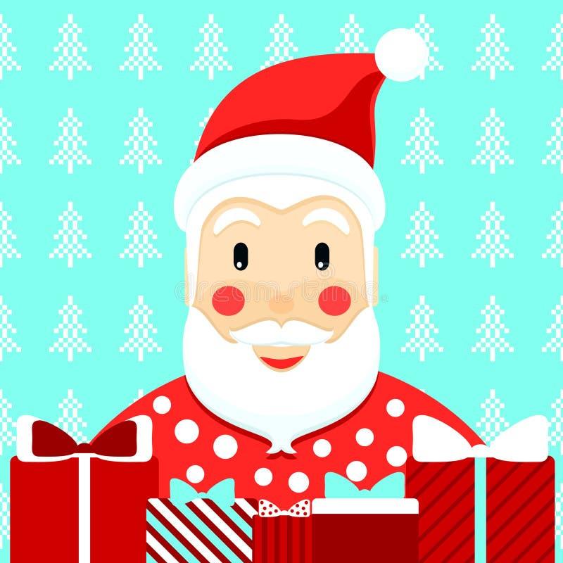 Santa Klaus met stelt voor Vector vector illustratie