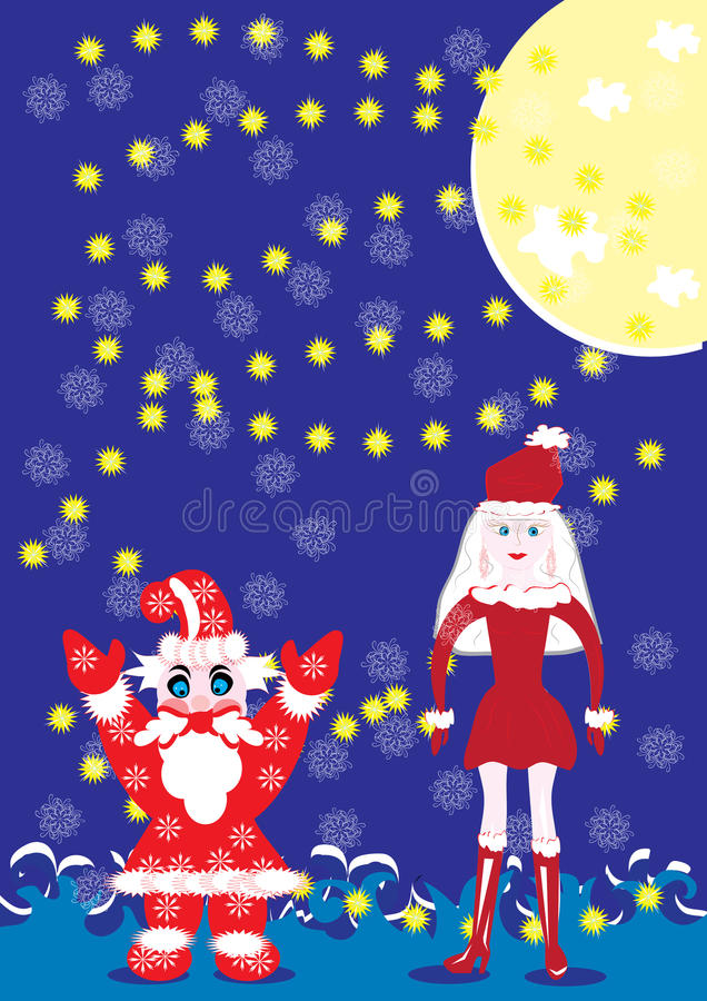 Download Santa-klaus And The Snow Girl Stock Vector - Image: 22322773