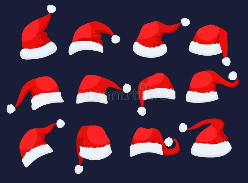 Santa klauzula kapeluszy ikony ustawiać royalty ilustracja