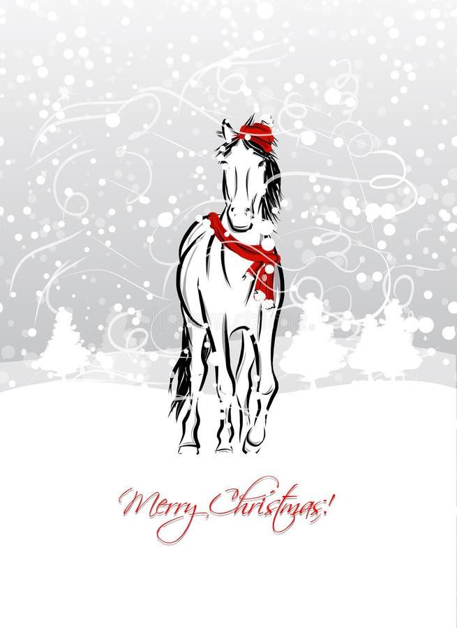 Santa koński nakreślenie dla twój projekta. Symbol 2014 ilustracja wektor