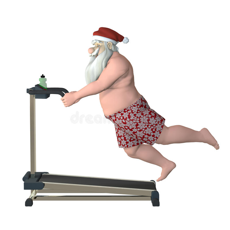 Santa kondition - TreadmillSlip vektor illustrationer