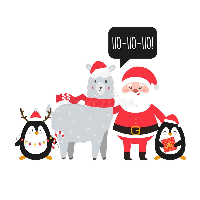 Santa, lama e pinguini Animali svegli di Natale con Santa Progettazione della cartolina d'auguri di natale e del nuovo anno Vetto royalty illustrazione gratis