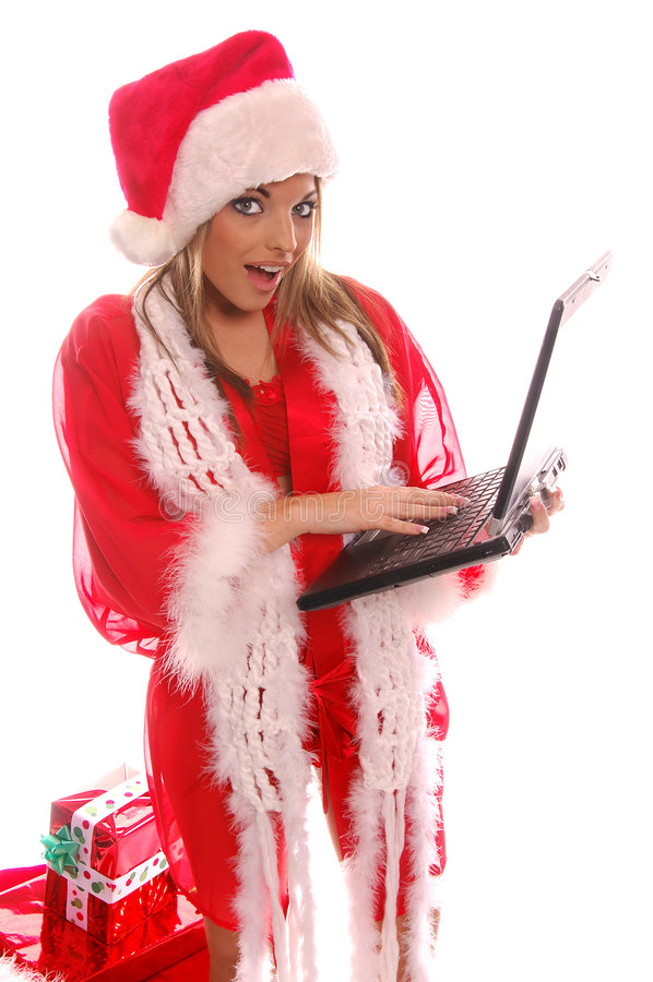 santa lap-top Χριστουγέννων στοκ εικόνες