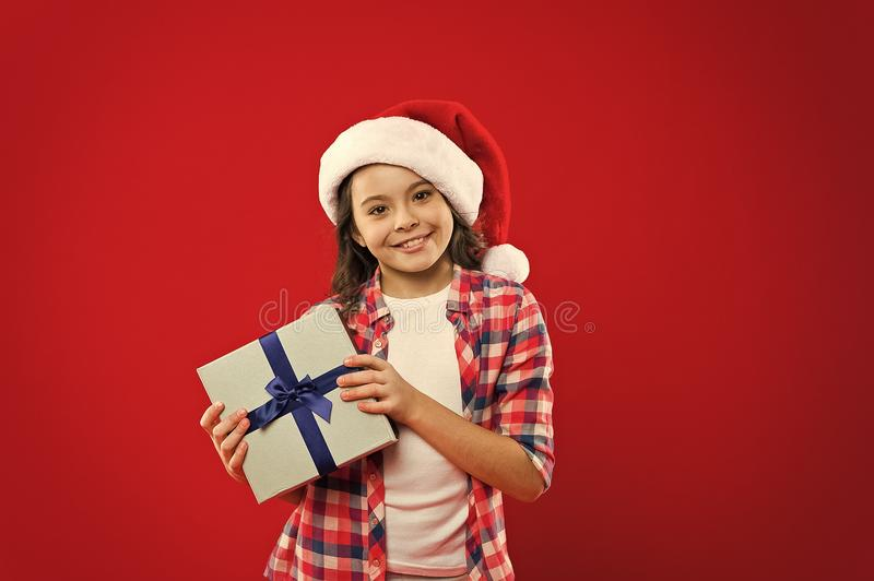 From Santa. Last preparations. Happy winter holidays. Small girl. New year party. Santa claus kid. Christmas shopping stock images