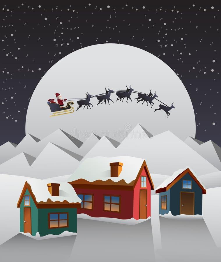 Santa lata nad ślicznym śnieżnym wioska wektorem ilustracji