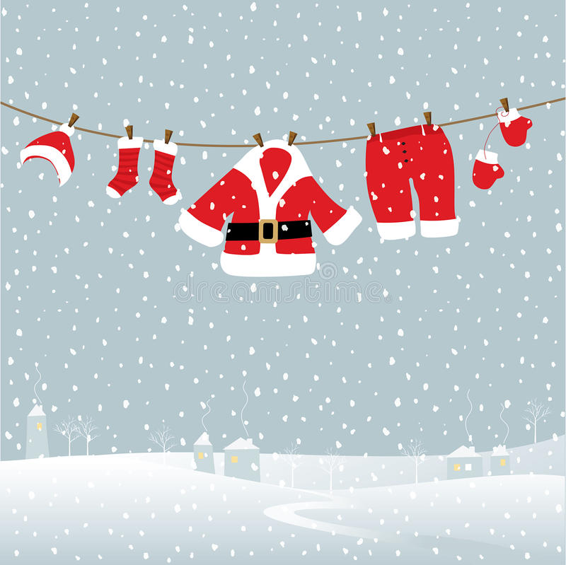 Download Santa Laundry stock vector. Image of greeting, snow, hanging - 15094347