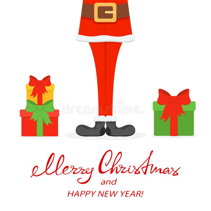 Santa legs in black shoes with Christmas gifts. Lettering Merry Christmas and Happy New Year with Santa legs in black shoes and gifts isolated on white vector illustration