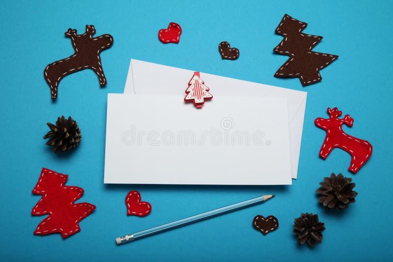 Santa letter, christmas background. Winter wish list.  royalty free stock image