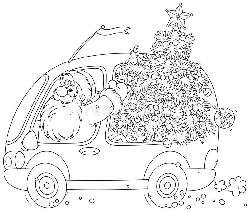 Santa leva uma árvore de Natal ilustração stock