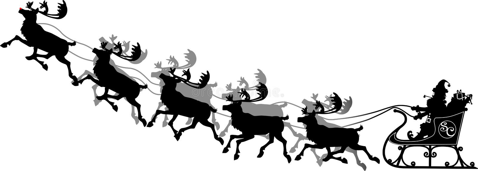 Santa_liftoff. Raster silhouette graphic depicting Santa in his sleigh with his reindeer