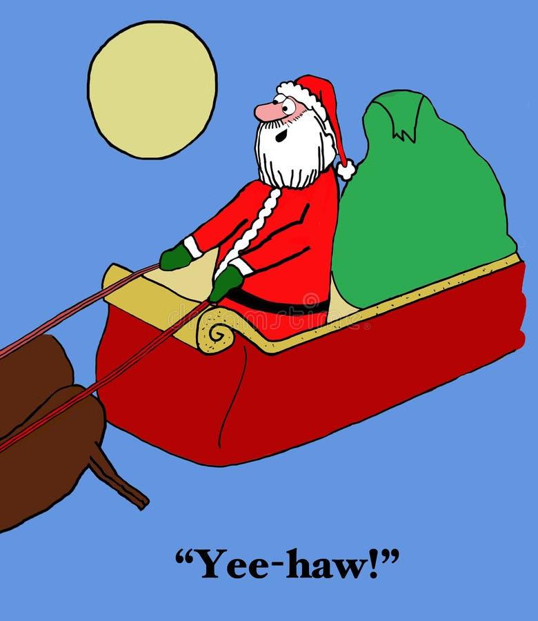Santa Likes Pretending a ser um vaqueiro ilustração royalty free