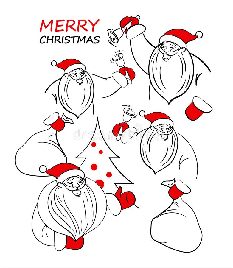 Santa linear outline set. Santa Claus and Christmas tree stock images