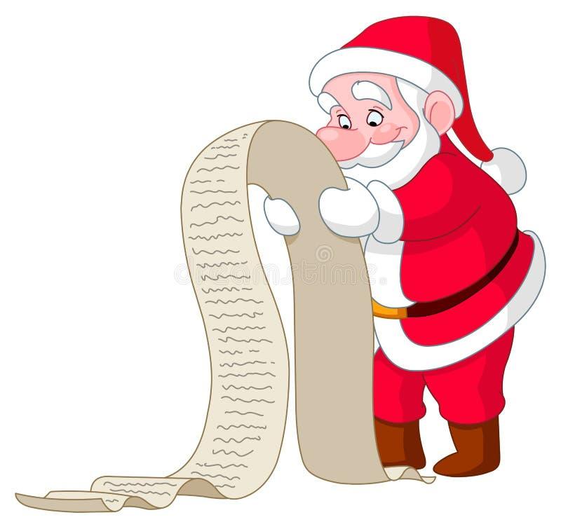 Santa with list. Santa reading a long Christmas wish list royalty free illustration