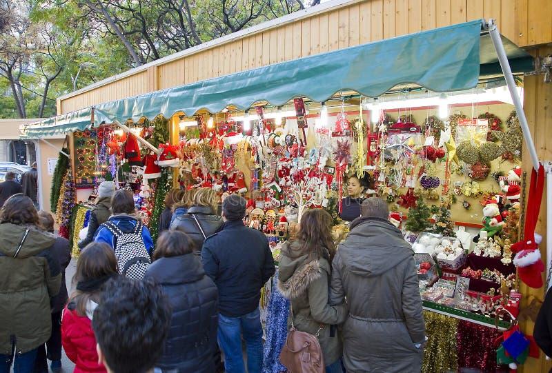 Santa Llucia Christmas Fair, Barcelona fotos de stock