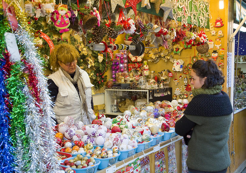 Santa Llucia Christmas Fair, Barcelona. Santa Llucia Fair starts in Barcelona, Spain, on December 1, 2013. People visit the shops to buy Christmas decoration, as stock image