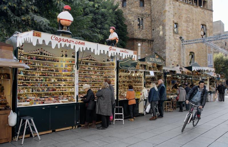 Santa Llucia Christmas market in Barcelona, Spain. BARCELONA, SPAIN - NOVEMBER 28, 2017: A view of the stalls of the Mercat de Santa Llucia, the popular royalty free stock photography